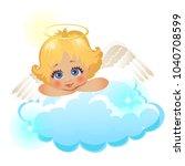 animated cute little angel... | Shutterstock .eps vector #1040708599