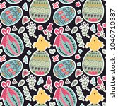 seamless spring vector pattern... | Shutterstock .eps vector #1040710387