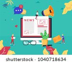 online news update on internet... | Shutterstock .eps vector #1040718634
