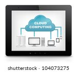 Cloud Concept. Tablet PC Isolated on White Background. Vector EPS 10. - stock vector