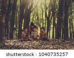 rural children are reading a... | Shutterstock . vector #1040735257