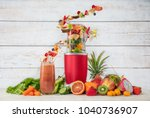 smoothie maker mixer with fruit ... | Shutterstock . vector #1040736907