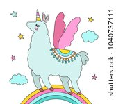 funny llama alpaca in the image ... | Shutterstock .eps vector #1040737111