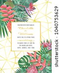 tropical wedding invitation on... | Shutterstock .eps vector #1040753629