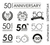 50 years anniversary icon set.... | Shutterstock .eps vector #1040759164