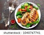 grilled chicken breast. fried... | Shutterstock . vector #1040767741
