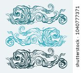 blue water wave  abstract hand... | Shutterstock .eps vector #1040777371