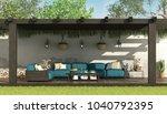 blue sofa under a wooden... | Shutterstock . vector #1040792395