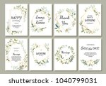 set of card with flower rose ... | Shutterstock .eps vector #1040799031