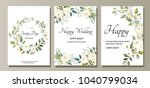 set of card with flower rose ... | Shutterstock .eps vector #1040799034