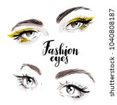 beautiful woman eyes vector set ... | Shutterstock .eps vector #1040808187