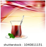turkish tea cup with black tea  ... | Shutterstock .eps vector #1040811151