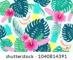 seamless tropical pattern with... | Shutterstock .eps vector #1040814391