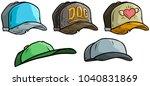 cartoon different colorful cap... | Shutterstock .eps vector #1040831869
