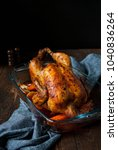 roasted whole chicken served... | Shutterstock . vector #1040836264