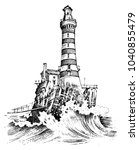 lighthouse and sea. marine... | Shutterstock .eps vector #1040855479