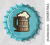 wooden mug of draft beer with... | Shutterstock .eps vector #1040857861