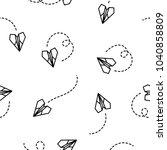 paper plane seamless pattern on ... | Shutterstock .eps vector #1040858809