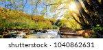 view of waterfalls and pontoon... | Shutterstock . vector #1040862631