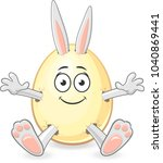 bunny get out of easter egg...   Shutterstock .eps vector #1040869441