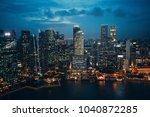 singapore city landscape  night ... | Shutterstock . vector #1040872285