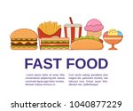 fast food icons with text.... | Shutterstock .eps vector #1040877229