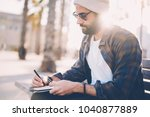 pensive bearded male tourist in ... | Shutterstock . vector #1040877889