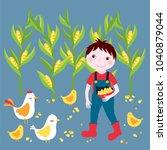 farm life   cute boy farmer... | Shutterstock .eps vector #1040879044