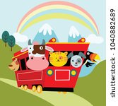 cute cartoon animal in... | Shutterstock .eps vector #1040882689