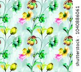 seamless wallpaper with tulip...   Shutterstock . vector #1040886061