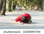 young men wearing red shirts... | Shutterstock . vector #1040894704
