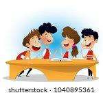 group of children are...   Shutterstock .eps vector #1040895361