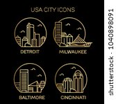 usa city icons. vector... | Shutterstock .eps vector #1040898091