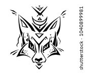 tribal pattern fox. polynesian... | Shutterstock .eps vector #1040899981