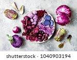 purple buddha bowl with spiral... | Shutterstock . vector #1040903194