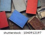 old vintage book stack over...   Shutterstock . vector #1040912197