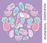 punchy pastel cartoons... | Shutterstock .eps vector #1040919154