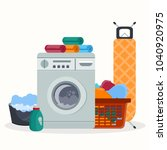laundry room service concept.... | Shutterstock .eps vector #1040920975