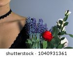 close up young girl with black... | Shutterstock . vector #1040931361