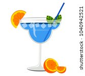 blue cocktail with orange slices | Shutterstock .eps vector #1040942521
