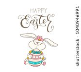 happy easter card with bunny... | Shutterstock .eps vector #1040946991