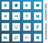 multimedia icons colored set... | Shutterstock .eps vector #1040947285