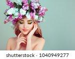 beautiful young woman smiling... | Shutterstock . vector #1040949277