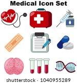 medical icon set on white... | Shutterstock .eps vector #1040955289