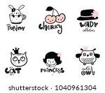 set of cute kids logo   Shutterstock .eps vector #1040961304