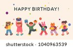 cute children and cute animal... | Shutterstock .eps vector #1040963539