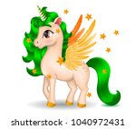 pony unicorn with golden wings... | Shutterstock .eps vector #1040972431