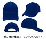 trucker navy blue baseball cap... | Shutterstock .eps vector #1040973847