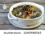 mushroom soup with forest...   Shutterstock . vector #1040988565