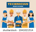 technician and builders and... | Shutterstock .eps vector #1041021514